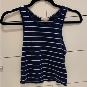 Striped racer back cropped tank top